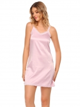 Pink Women Strap V neck Mini Chemise de nuit A line Robe couchage Robes solides