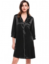 Black 3/4 Sleeve Dot Boyfriend Style Loose Sleepwear Robe