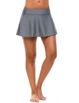 Gray Mid Waist Solid Skirted Bikini Bottom Swimwear