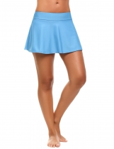 Light blue Mid Waist Solid Skirted Bikini Bottom Swimwear