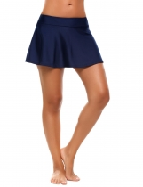 Navy blue Mid Waist Solid Skirted Bikini Bottom Swimwear