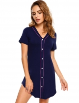 Navy blue Contrast Color V-Neck Pajama Sleep Shirt