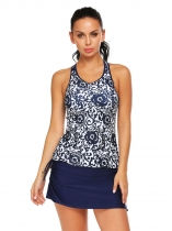 Navy blue Women Two Pieces Swimsuit Padded Printing Tankini Set Swimwear