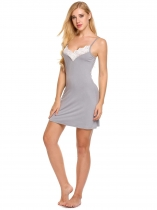 Gray Spaghetti Strap Lace Patchwork Mini Nightgown