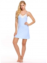 Sky blue Spaghetti Strap Lace Patchwork Mini Nightgown