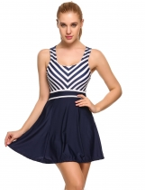 Navy blue Striped Patchwork Cross Back Skirted Bottom One Piece Swimwear