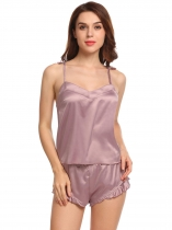 Coffee Sexy Satin Pajama V-Neck Cami Shorts Sleepwear Set