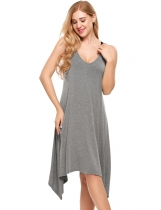 Grey Sleeveless V Neck Asymmetrical Hem Nightgown Sleepwear