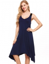 Navy blue Sleeveless V Neck Asymmetrical Hem Nightgown Sleepwear