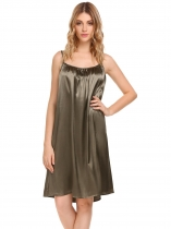 Army green Sleeveless Solid Ruched Nightgown Sleepwear Slip Chemises Pajamas