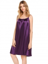 Purple Sleeveless Solid Ruched Nightgown Sleepwear Slip Chemises Pajamas