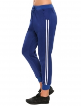Dark blue Drawstring Casual Sports Striped Side Jogger Sweatpants