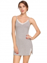 Gray Spaghetti Strap Lace Patchwork Side Split Nightgown