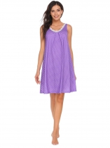 Purple Women Sleeveless Dot Tank Nightgown Sleeping Dress Loose Nightwear