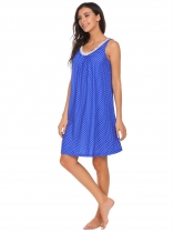 Blue Femme sans manches Dot Tank Nightgown Robe de couchage Loose Nightwear
