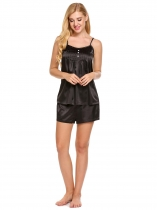 Noir Women's Tops et Shorts Pyjamas en satin Ensembles Loose Nightwear Vêtements de nuit
