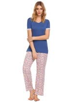 Blue Short Sleeve Tops and Floral Pants Pajamas Sets