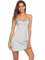 Gray Spaghetti Strap Lace Mesh Patchwork Mini Nightgown