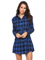 Blue Long Sleeve Plaid Button-Front Nightshirts with Pocket