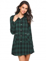 Vert Women Sleep Shirt à manches longues Plaid Button-Front Nightshirts avec poche