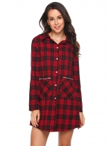 Red Long Sleeve Plaid Button-Front Nightshirts with Pocket
