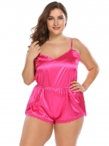 Rose red Plus Size Spaghetti Strap Lace Trim Satin Romper Sleepwear