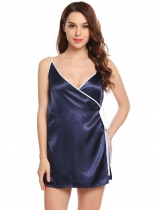 Navy blue Women Sexy Pajama V-Neck Spaghetti Strap Tie Up Patchwork Satin Sleepwear