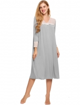Grey Long Sleeve Lace Patchwork V Neck Nightgown Sleepwear