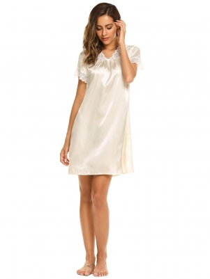 9453bbcead Short Sleeve Lace Satin Patchwork Nightgown