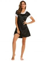 Black Short Sleeve Lace Satin Patchwork Nightgown
