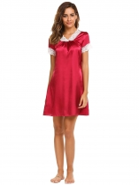 Wine red Short Sleeve Lace Satin Patchwork Nightgown