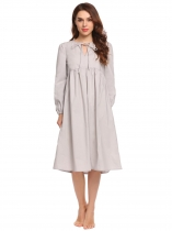 Light gray Women Long Sleeve V-Neck Solid Tie Midi Nighties Sleepwear Dress