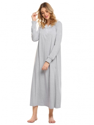 697cf19adf Grey Women Casual V Neck Long Sleeve Lace Patchwork Solid Loose Retro Full  Nightgown