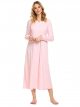 Pink Femmes Casual V Neck Long Sleeve Lace Patchwork Solid Loose Retro Full Nightgown