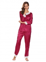 Wine red Lace Trimmed Long Sleeve Tops with Elastic Waist Pants Pajamas Sets