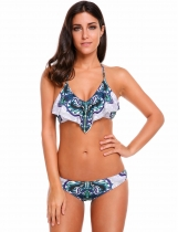 Green Halter Printed Backless Ruffles Bikini Set Swimwear