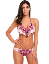 Purple Halter Printed Backless Ruffles Bikini Set Swimwear