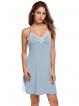 Blue Women Spaghetti Strap Backless Cross Back Lace Patchwork Sleepwear