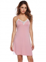 Pink Women Spaghetti Strap Backless Cross Back Lace Patchwork Sleepwear
