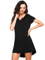 Black Short Sleeve Solid Button Notched Collar Pajamas