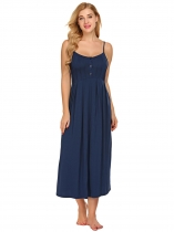 Dark blue Women Spaghetti Strap Sleeveless Button Nighties Sleepwear Dress