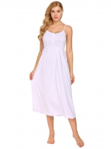 White Women Spaghetti Strap Sleeveless Button Nighties Sleepwear Dress
