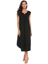 Black Notched Collar Cap Sleeve Nighties Sleepwear