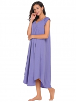 Blue Notched Collar Cap Sleeve Nighties Sleepwear