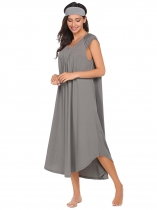 Gray Notched Collar Cap Sleeve Nighties Sleepwear