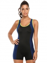 Black Scoop Neck Cut Out Contrast Color One-Piece Swimsuit