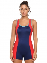 Dark blue Scoop Neck Cut Out Contrast Color One-Piece Swimsuit