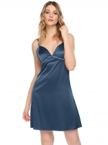 Blue Womens Sexy Spaghetti Straps Pajamas Contrast Color V Neck Backless Nightgown Sleepwear Dress
