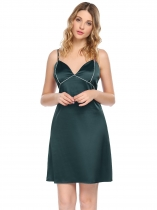Dark green Womens Sexy Spaghetti Straps Pajamas Contrast Color V Neck Backless Nightgown Sleepwear Dress