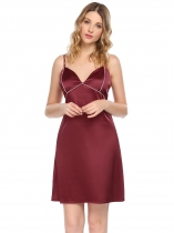 Wine red Womens Sexy Spaghetti Straps Pajamas Contrast Color V Neck Backless Nightgown Sleepwear Dress